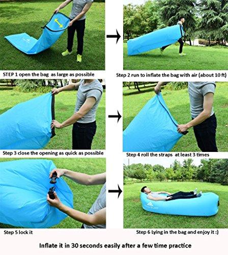 Hikenture 2nd Generation Inflatable Lounger Hangout Beach  : 61c92BWrC6ML from onlinecampingsupplies.com size 448 x 500 jpeg 72kB