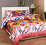Soni Traders Coral Rangoli Design Pure Cotton Double Bedsheet With Pillow Cover- Bedsheet- 90 Inches X 90 Inches; Pillow Cover- 16 Inches X 27 Inches