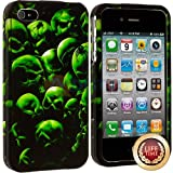 myLife (TM) Black + Green Skulls and Spider Series (2 Piece Snap On) Hardshell Plates Case for the iPhone 4/4S... by myLife Brand Products