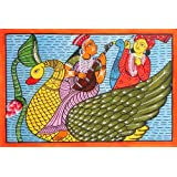 """Dolls Of India """"Saraswati And Kartik"""" Kalighat Painting - Water Color On Paper - Unframed (55.88 X 38.10 Centimeters..."""