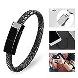 Dzzkoye USB Type C Cable Bracelet for Men Samsung S8 Short Portable Leather Charger (M) (Color: Black M, Tamaño: M(Black))
