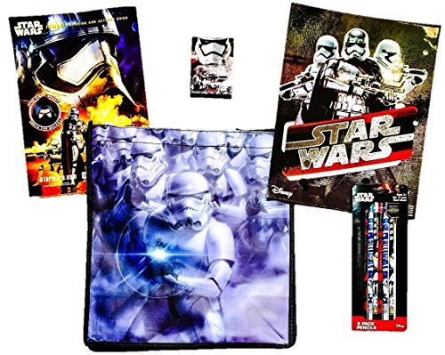 [10 item LIMITED Disney Star Wars Bundle Exclusive [Phasma Coloring Book, Trooper Pocket Folder, Trooper Crayons, 6 Droid Pencils & Recyclable Tote (Stormtroopers with Blaster Riffles IMPERIAL] (R2d2 Costume Pattern)