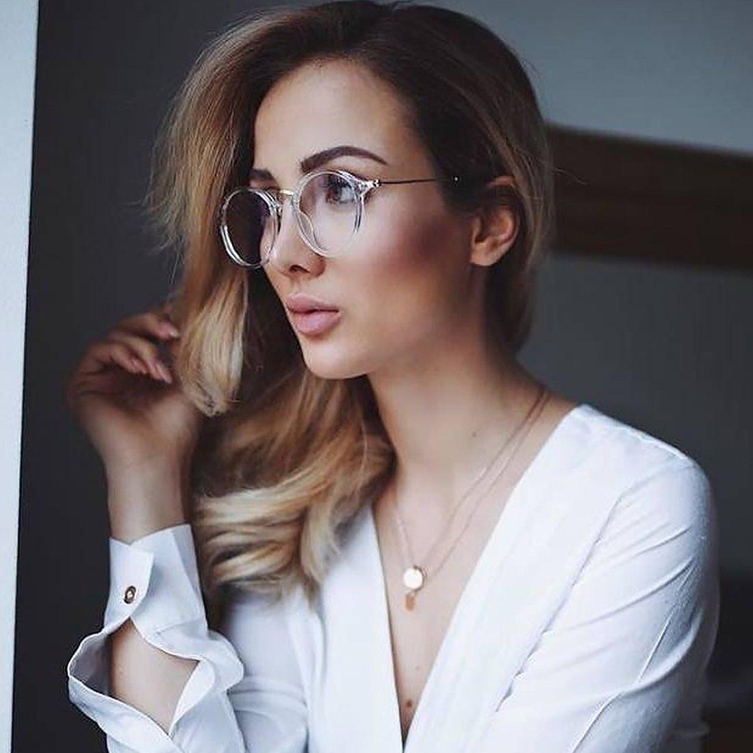 TIJN Vintage Round Prescription Eyewear Eyeglasses Frame with Clear Lenses for Women 1