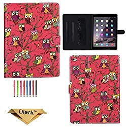 iPad Air 2 Case, Dteck(TM) Fashion Colorful Eagle pattern Flip PU Leather Folio Stand [Auto Wake/Sleep Function] Magnetic Closure Case Cover for Apple iPad 6 (06 Red Owl)