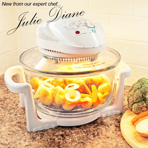 New Julie Diane 1300 Watt 12Ltr Halogen Oven Complete with 70mm Height Extender, Wire Grilling Tray, Wire Roasting Tray, Frying Pan, Steamer Tray, Lid Stand,Tongs.
