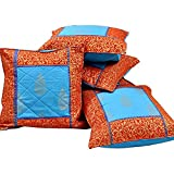 Ufc Mart Jaipuri Gold Print Cotton Cushion Cover Set, Color: Red And Blue, #Ufc00409