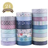 Yubbaex Washi Tape Set Skinny Masking Decorative Tapes for Arts, DIY Crafts, Bullet Journals, Planners, Scrapbooking, Wrapping (Basic Patterns) (Color: Muti-Colors, Tamaño: 10mm x 24 Rolls)