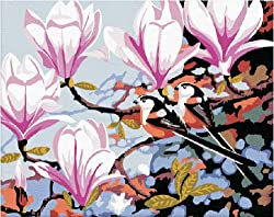 Diy home decor digital canvas oil painting by number kits Pink Flowers 16*20 inch.