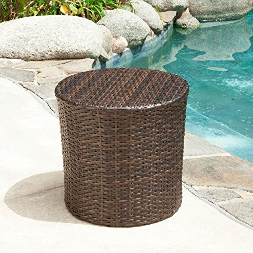 Overton Outdoor Wicker Barrel Side Table image