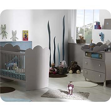 Mini Babyzimmer Linea Lein Sand mit Gitterbettchen und Wickelfläche