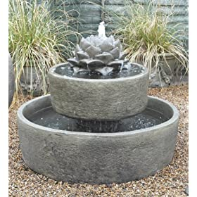 Statues Sculptures Online Garden Water Features Modern Two Tier Fountain Reservoir Water