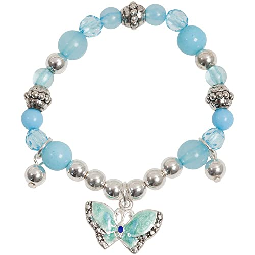 Heirloom Finds Little Girls Blue Enamel Butterfly Sparkle Charm Bracelet