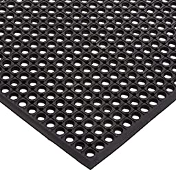 Rhino Mats CT3660R Comfort Tract Resilient Grease-Resistant Rubber Anti-Fatigue Mat, 3' Width x 5' Length x 1/2'' Thickness, Black