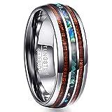 Vakki 8mm Men's Hawaiian Koa Wood & Abalone Shell Tungsten Band Ring Polished Domed Wedding Rings Size 9 (Color: Hawaiian Koa Wood+Abalone Shell)