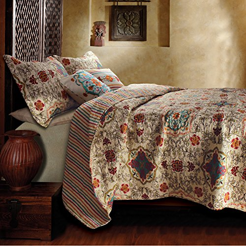 5-Piece-Full-Queen-Bohemian-Quilt-Set-with-Reversible-Stripe-Patterns-Teal-Floral-Damask-Designs-Cream-Beige-Indie-Sylish