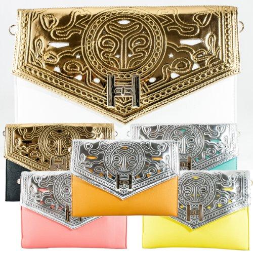 Girly HandBags New Laser Cut Leather Metallic Clutch Bag Evening Perforated SIlver Gold Handbag