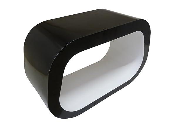 """Il """"Squoval"""" Ovale Quadrato Porta TV / Tavolino Lucido Bianco e Nero"""