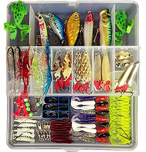 172pcs Set Fishing Lures Bass Crankbait Spoon Minnow Popper Crank Bait Soft Bat Jig Hooks for All Water Layer