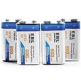 EBL 4 Pack 9V 6F22 600mAh High Volume Lithium-ion Rechargeable 9 Volt Li-ion Batteries