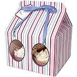 Meri Meri Cupcake Box Blue Striped, Large 3-Pack