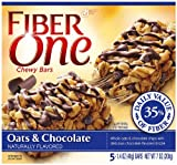Fiber One Chewy Bars, Oats & Chocolate, 5-Count Boxes (Pack of 6)
