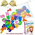 Bath Letters And Numbers with Mesh Bath Toy Organizer. The Best Educational Bath Toys with Premium Bath Toy Storage. Perfect Christmas Gift With Free Bonus Toddler Care Guide Book