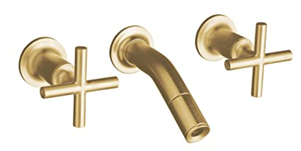 KOHLER K-T14419-3-BGD Purist Laminar Wall-Mount Lavatory Faucet Trim with Cross Handles, Valve Not Included, Vibrant Moderne Brushed Gold