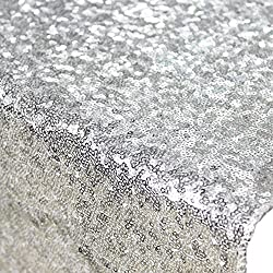 50inx72in Silver Sequin Tablecloth, Silverwedding Tablecloth, Silver Glitter Tablecloth, Silver Sparklytablecloth