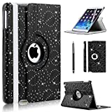 CellDeal For Apple iPad Air 360 Rotating Magnetic Bling PU Leather Case Smart Cover Stand + Black
