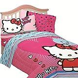 Hello Kitty Full Size Free Time 4-Piece Blue & Pink Sheet Set