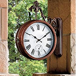 Outdoor Double Sided Clock and Thermometer with Scrolled Hanging Bracket -13