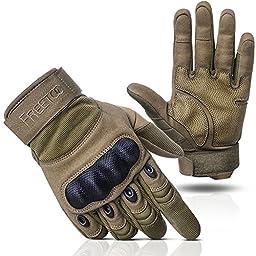 Freetoo Mens Tactical Gloves Hard Knuckle Full Finger Mechanix Gloves, Tan, Large