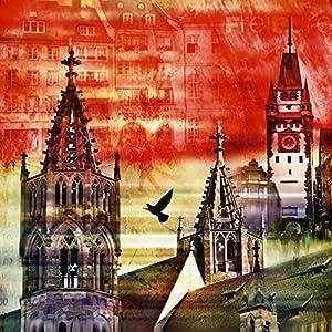 Glas - Bild Artland Wandbild Architektur Städte Architektonische Elemente Nettesart: Freiburg Skyline Abstrakte Collage in verschiedenen Größen