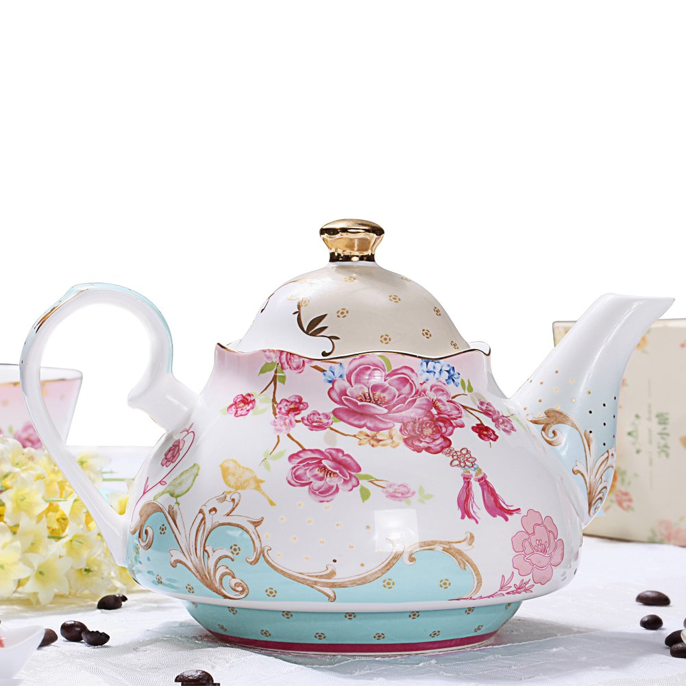 AWHOME Bone China Teapot Vintage Royal Style Red Floral -4 Cup 4