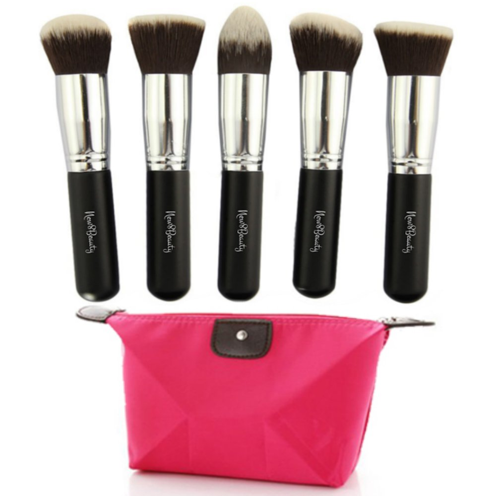 New8Beauty Kabuki Makeup Brushes - 5pcs Premium Collection Set