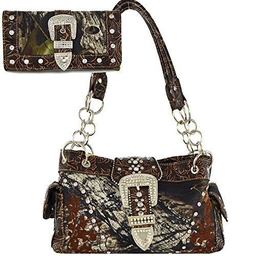 (AM5-2)Mossy Oak Studded Buckle Camouflage Print Handbag And Wallet Set (Coffee)