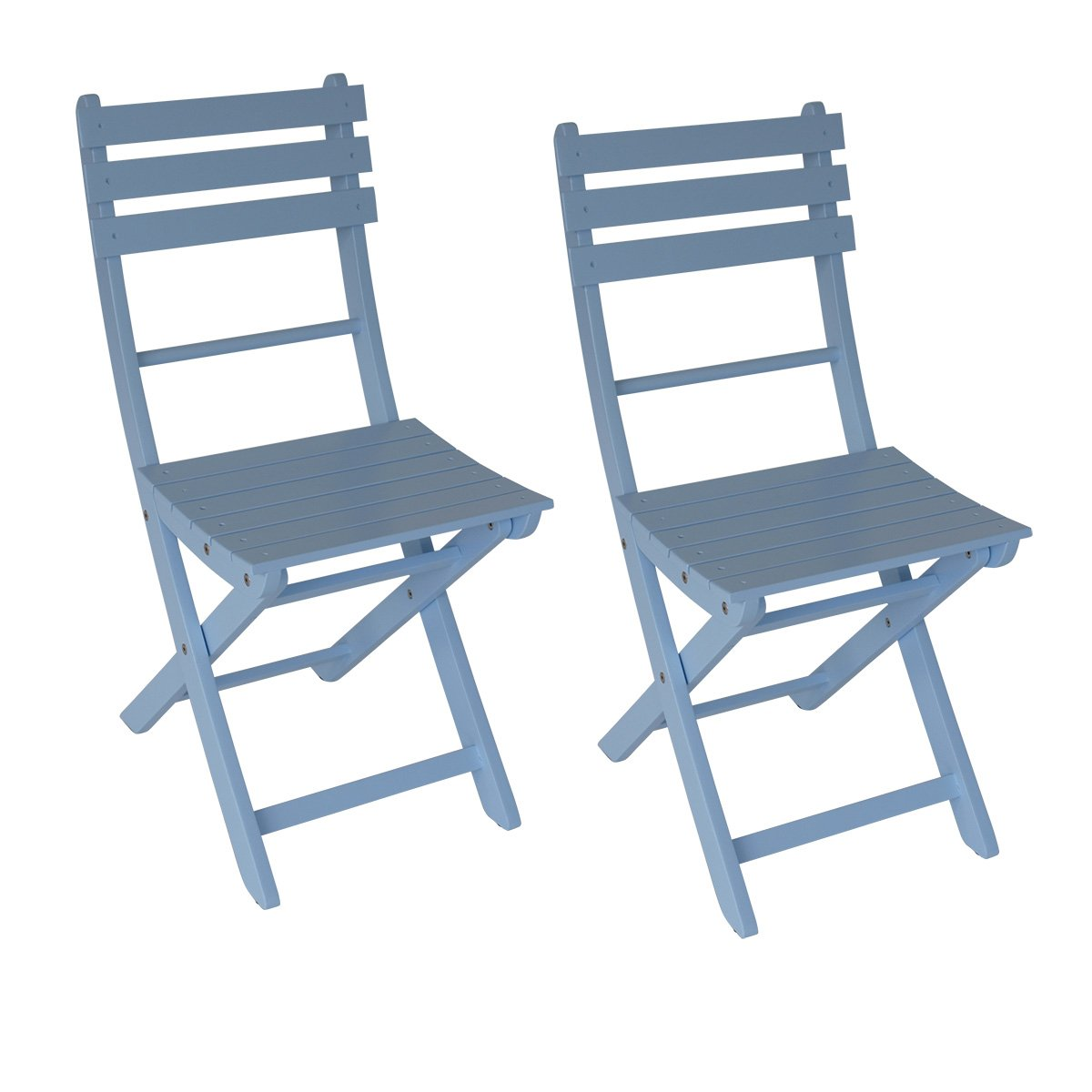 BALKE Design, 2x Klappstuhl Miami aus Akazienholz, hellblau beschichtet