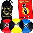 3x Balles de Jonglage En Cuir Super Durable (Leather) - MR Babache Livre sur les techniques de jonglage (en fran�ais) + Sac de transport