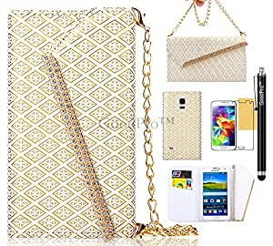 S5 Case, Galaxy S5 Case, GoodPro Luxury Fashion [Gold-plated Hardware Handbag Design](White), Premium PU Leather Wallet Case Flip Cover with Card Holder/ Carrying Strap for Samsung Galaxy S5 i9600, Included (Screen Pro