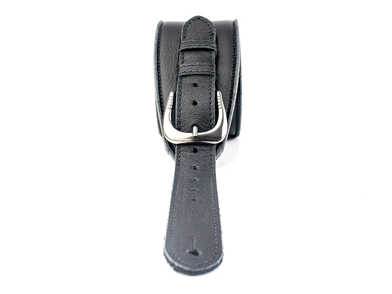 UK Made Black Vintage Extra Wide Soft Real Leather Guitar Strap with Buckle Adjustable Length 2