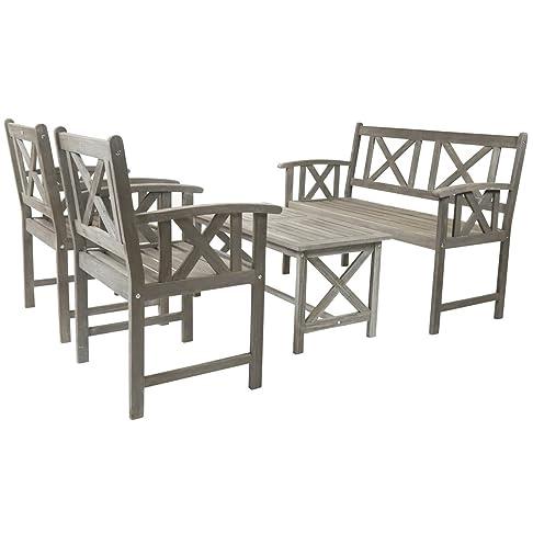 Charles Bentley Isla Grigio Legno 4 Persona 5 pezzi Lounge Set sedia panca esterna della Tabella Garden