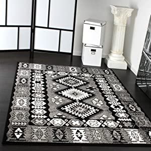 tapis oriental classique motif poil court gris noir blanc dimension 190x280 cm. Black Bedroom Furniture Sets. Home Design Ideas