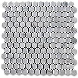 "Carrara White (Bianco Carrera) 1"" Hexagon Mosaic Tile Polished - Marble from Italy"