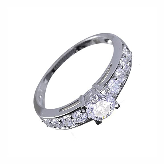 Ivy Gems 9ct White Gold 1ct Finest 100 Cut Swiss Cubic Zirconia Solitaire Ring with Side Stones