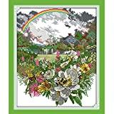Anself DIY Handmade Needlework Counted Cross Stitch Set Embroidery Kit 14CT Rainbow and Flowers Pattern Cross Stitching 36 41cm Home Decoration
