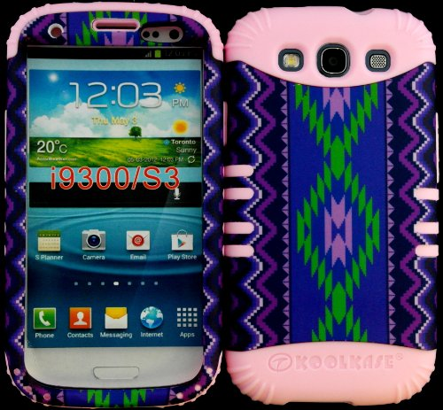 Hybrid Impact Rugged Cover Case Purple Tribal Aztec Pattern Hard Plastic Snap On Baby Pink Skin For Samsung Galaxy Slll S3 Fits Sprint L710, Verizon I535, At&T I747, T-Mobile T999, Us Cellular R530, Metro Pcs And All front-536752