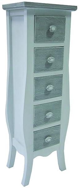 Cómoda con 5 cajones y armario de madera de colour blanco shabby chic de registro de nuevo de alta calidad y de un armario