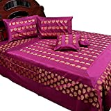 Ufc Mart Banarasi Magenta Silk Double Bed Cover And Cushion Cover, Color: Magenta, #Ufc00368