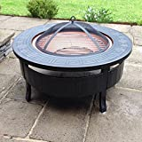 RayGar FP34 Multifunctional 3 in 1 Outdoor Garden Round Fire Pit BBQ Ice Pit Patio Heater Stove Brazier Metal Firepit + Protective Cover - New (FP34)