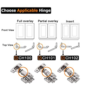 JQK Cabinet Hinges, 100 Degree Soft Closing Partical Overlay Door Hinge for Frameless Cabinets, Stainless Steel Nickel Plated Finish, 4 Pack, CH101-P4 (Color: Partical Overlay-CH101, Tamaño: A-Partical Overlay(4 pack))